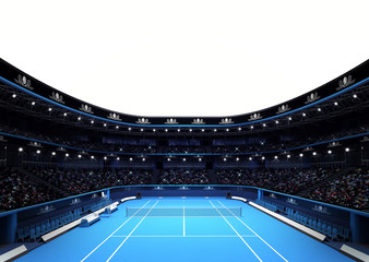 isolated tennis stadium with white blank text space