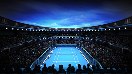 tennis stadium with night sky and spotlights