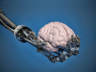 robotic arm holding a human brain