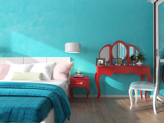 turquoise wall in the bedroom