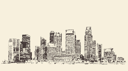 Big city Architecture Engraved Illustration Sketch