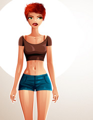Young pretty lady in a sportswear with modern female haircut. Ve