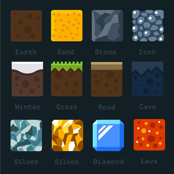 Different materials and textures for the game. Vector flat tile set