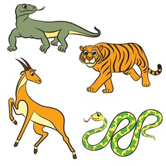 Zoo animals collection. Vector illustration.