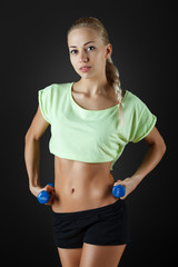 The young girl engaged in fitness