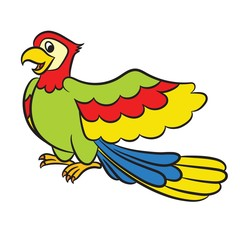 Cartoon parrot on a white background. Vector