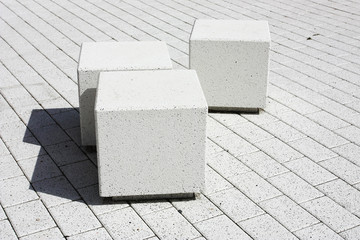 Gray, cube, cement, tile, nobody, clean, space, creativity