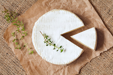 Sliced round camembert cheese traditional milk creamy dairy