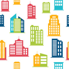 Building icons. Seamless pattern with city buildings