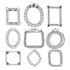 Collection of hand drawn frames. Vintage photo frames