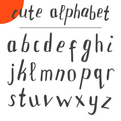 Cute hand drawn alphabet. Vector font