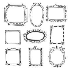 Hand drawn frames. Vintage photo frames