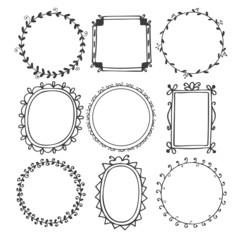 Romantic hand drawn frames