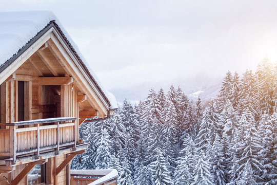 Chalet house in the mountains in winter