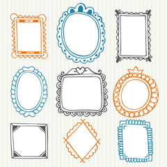 Vintage photo frames. Hand drawn collection