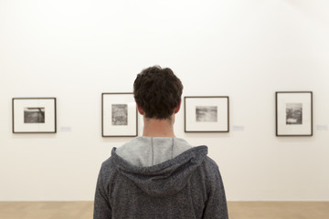 Watching paintings in museum