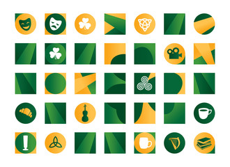 Illustration of orange and green Irish symbols