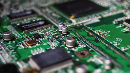 Macro Photography of a Green Computer PCB