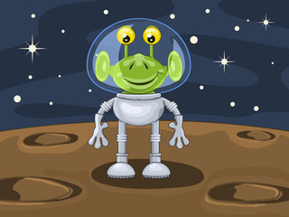 Funny cartoon alien in spacesuit above planetoid surface