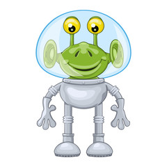 Funny cartoon alien in spacesuit on white background