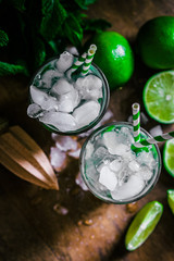 Chilled mohito on wooden background