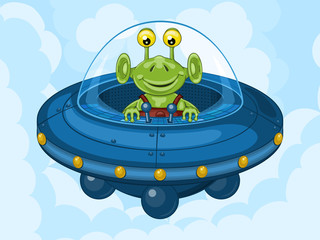 Smiling alien drives his UFO machine. Funny cartoon character