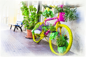 floral bike - artistic floral design, street decoration