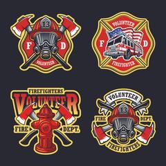 Set of firefighter emblems