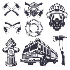 Set of designed firefighter elements
