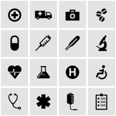 Vector black medical icon set