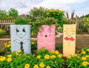 Funny cute garden faces smiling