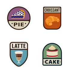 Bakery Vintage Labels vector icon design collection. Shield bann