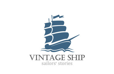 Vintage Ship Logo Sailing Boat design vector template...Ancient