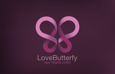 Butterfly Logo two Hearts crossing design vector template...Love