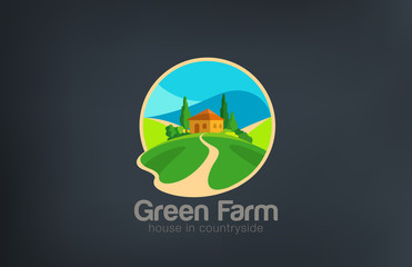Green Farm Logo Villa ecology design vector template...House in