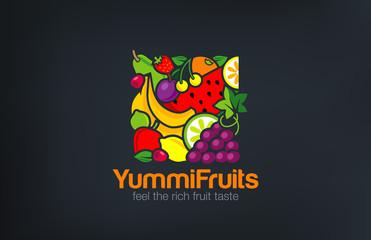 Mix Fruits Logo design vector template square shape...Vegetarian