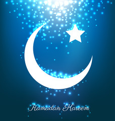 Beautiful bright moon and stars for ramadan festival