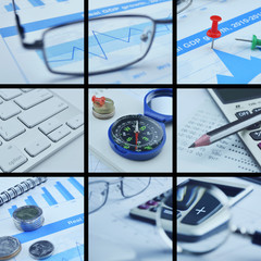 Business collage pictures, finance concept