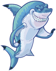 Mean Gesturing Shark Mascot Vector Cartoon Clip Art Illustration