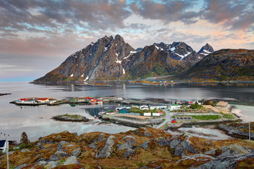 Wall Mural - Village Sund in Norway at sunrise