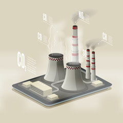 Vector isometric illustration of a plant polluting air. Environm