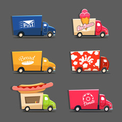 Vector set of trucks with inscriptions featuring ice cream truck
