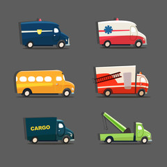 Vector set of urban vehicles featuring police car, ambulance, sc