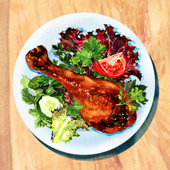 Grilled chicken leg and vegetables on white plate