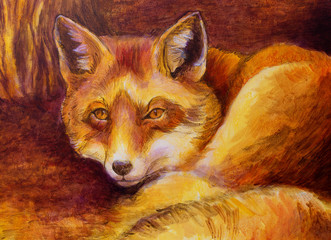 Monochromatic fox painting