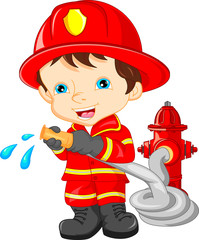 young boy wearing Firefighter cartoon