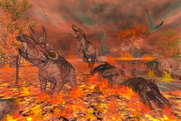Dinosaurs, tyrannosaurus and triceratops, exctinction - 3D