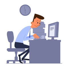 Cartoon office worker sitting and typing on computer