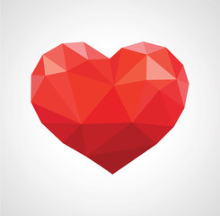 red heart in love polygonal low poly