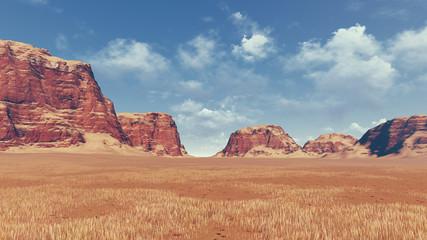 Red rocks among desert land